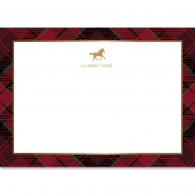 Plaid & Horse - 5x7 Uncoated Flat Stationery 20 cards/ 21 envelopes